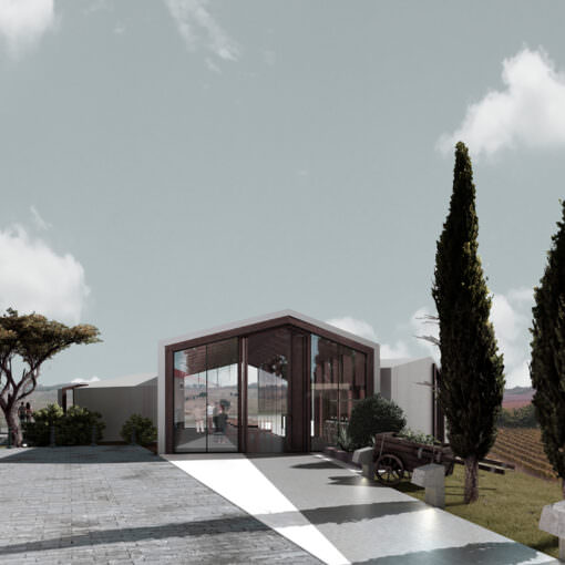 "Render of the winery ""Monte d'Orio"""