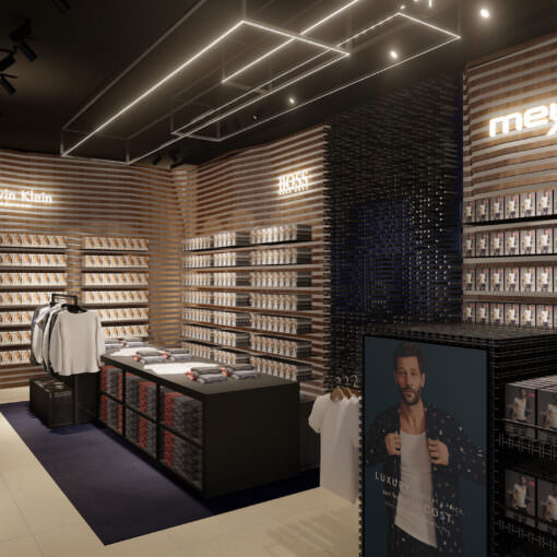 Interior view on the underwear department at Konen