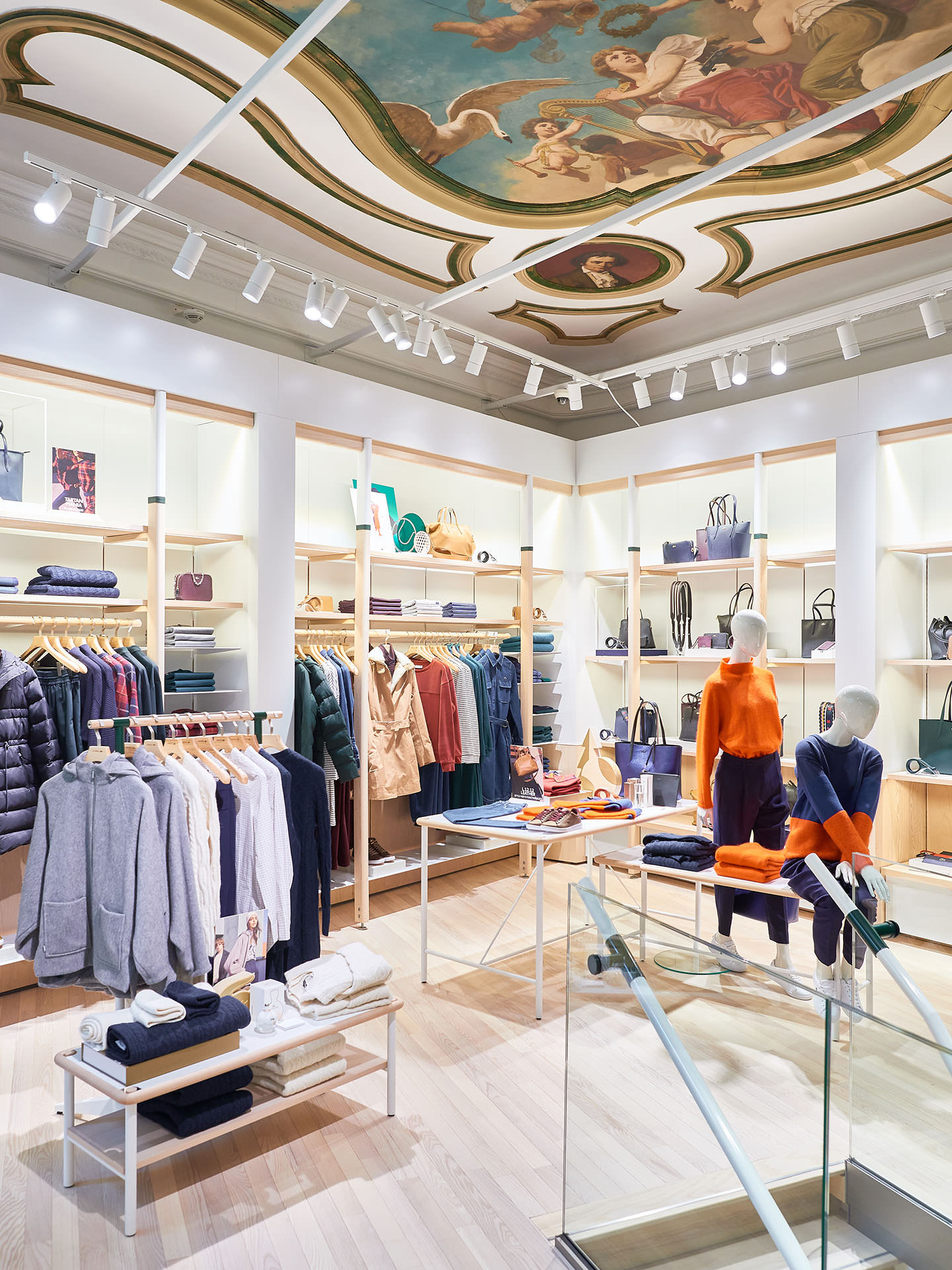 Interior view of Lacoste store Ku'damm with view on painted ceiling