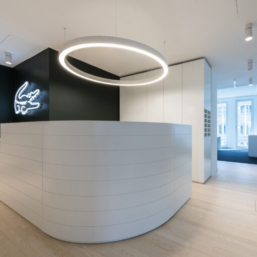 View on a reception area at the Lacoste HQ