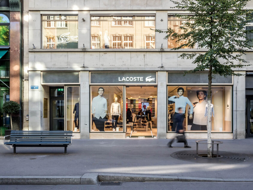 View on the facade of the Lacoste store in Zurich