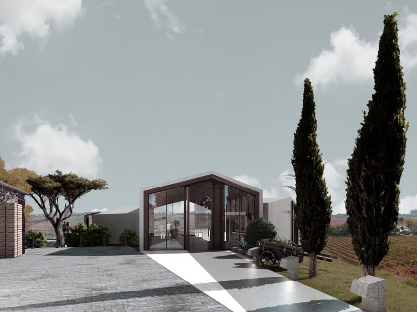 Simulation of the exterior view on the winery