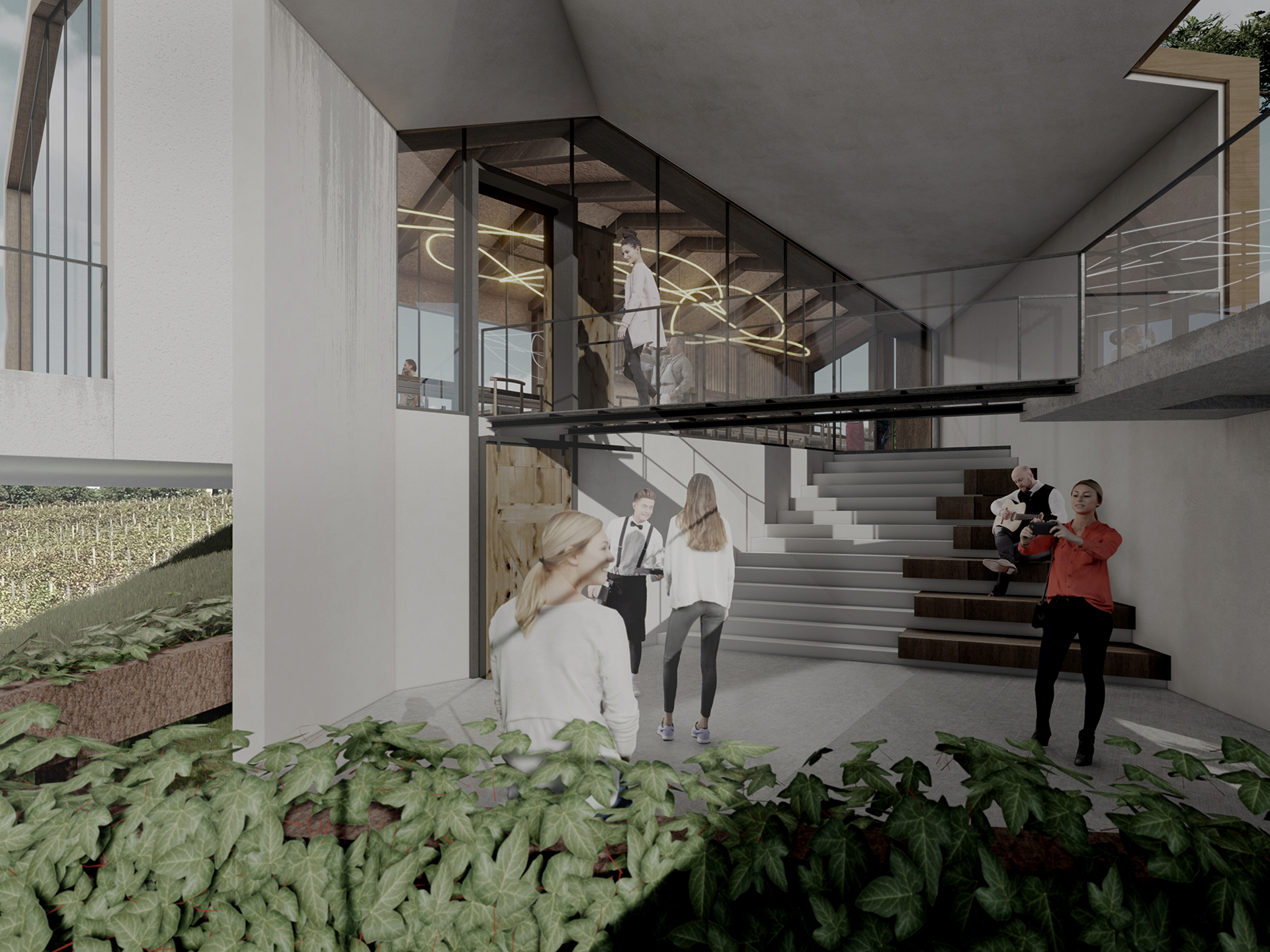 """Render of the winery """"Monte d'Orio"""""""